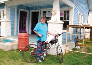 Freda Swigert in front of the Starfish Cafe