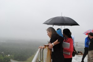PRISCILLA LOEBENBERG/SPECIAL TO THE SUN HERALD NASA Deputy Administrator Lori Garver looks over Stennis Space Center from the top of the largest rocket-testing stand in the world Friday.